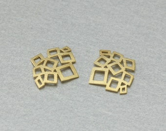 Square Brass Pendant . Matte Gold Plated . 10 Pieces / C2014G-010