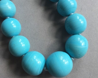 1940's Large Blue Glass Beads Necklace