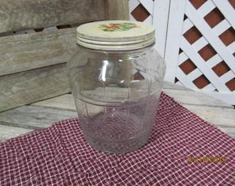 Large Vintage Owens Illinois 1935 Alton Illinois Large Basket Weave Shaped Canister Jar with Metal lid 755 coded