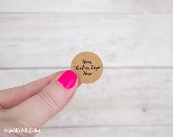 """Custom Stickers - Custom Labels - 1"""" Circle Stickers - Set of 120 - Personalized Labels - Kraft Stickers - S0107-1"""