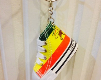 Rasta Colors Shoes Keychain, Lion of Judah symbol