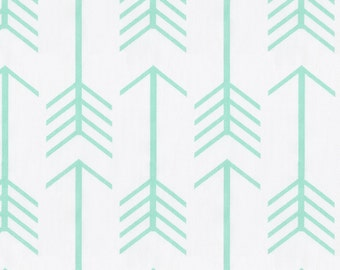 White and Mint Arrow Fabric - By The Yard - Boy / Girl / Gender Neutral