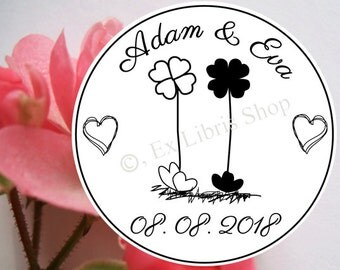 """Personalized wedding stamp """"Four-leaved clover"""", custom wedding stamp, save the date stamp, name stamp, wedding 812"""