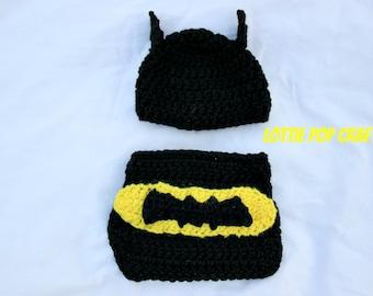 Batman Diaper cover set - Newborn Batman - Crochet Diaper Cover set - For baby - Dc Comics - Batman - Crochet Batman - Newborn Photo Prop