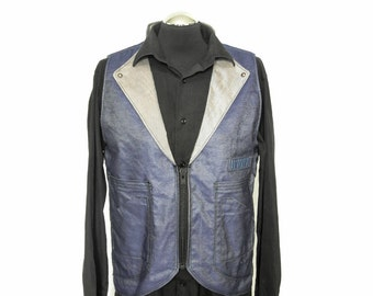 Waistcoat Vest, Denim/Silk Blend in Indigo with Grey Italian Cotton/Silk, {Industrial Wear}