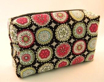 Pink and Black Flowered Makeup Bag- Large- Handmade