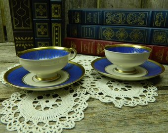 Set of 2 Vohenstrauss Johann Seltmann Bavaria Royal Blue and Gold Cup and Saucers