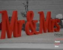 Mr And Mrs Wedding Sweetheart Sign, Mr And Mrs Wooden Wedding Sign, Wedding Silver Decoration