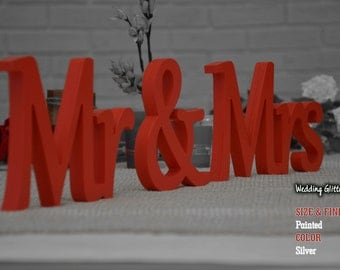 Mr & Mrs, Wall Decorations Mr. And Mrs., Red Sign Mr and Mrs,