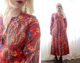 Vintage 1970s crimson red paisley Prairie bohemian hippie folk longsleeve gunne sax style Autumn dress hippie boho with pockets