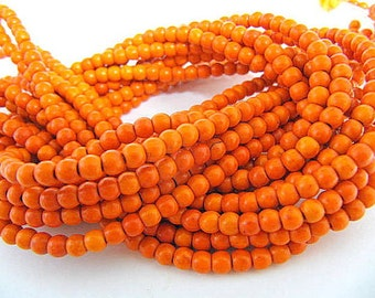 Turquoise Bead Strand, Synthetic, Orange, Dyed, Round, 4 mm, 100 Piece Strand, Sale, Jewelry Supply