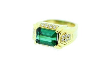 18K Green Tourmaline Ring