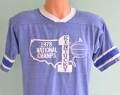 70s T-Shirt University of Kentucky Wildcats NCAA Basketball Champions Large Blue Jersey
