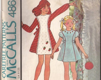 McCalls 4868 Girls Dress Pattern Size 10 Vintage 1975
