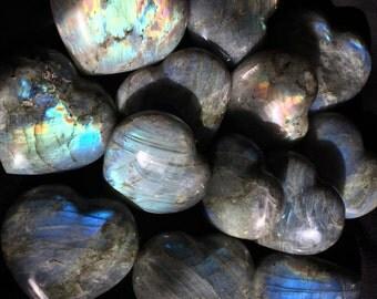 Labradorite Heart Stone - Increases Intuition, Psychic Development, Esoteric Wisdom, Chakra, Reiki Healing, Free Shipping