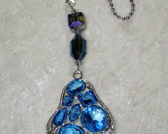 Chunky Blue Crystal,  Ceiling Fan Pull,  Light Chain Pull,  Home Decor,  Blue Home Decor,  Crystal Fan Pull,  Ready To Ship
