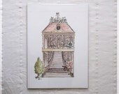 Library ~ A4 Art Print from Original Ink & Watercolour Piece