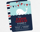 First Birthday Invitation, Kids Birthday Invitation, Printable Invitation, Boy Invitation, Invite PDF, Printed, Nautical, Whale, Red, Ahoy