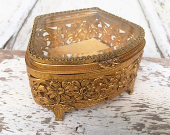 Vintage Ornate Gold Display Jewelry Box with Beveled Glass Lid