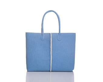 FREE SHIPPING - New Double colored Elegant and Casual Felt Bag from Italy, Tote Bag, Felted bag, Market Bag, Felt Tote.