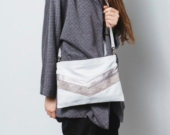 White leather clutch,White Crossbody leather bag,Silver Leather handbag,White chevron bag