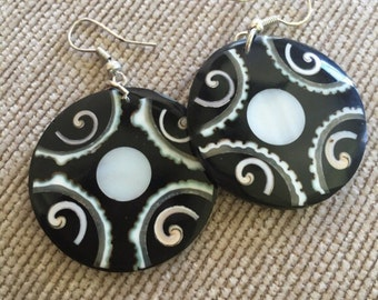 HandCrafted Black and White Mosaic Earrings