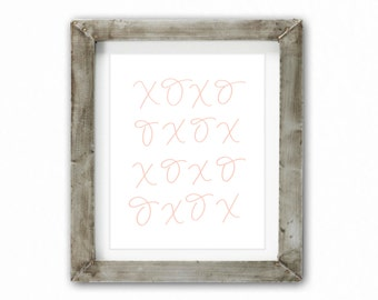 Home Decor Print - XOXO Blush | Home Decor, Baby Nursery, Baby Shower, Hugs and Kisses, Kiss Me Goodnight, Pretty Home Decor, Shabby Chic