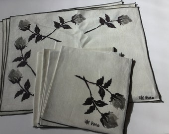 Vintage Vera Neuman  ivory black gray rose linen placemats napkins set of four