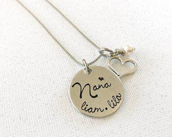 Mother's necklace - Grandmother's necklace - Name Necklace - Custom hand stamped necklace, bracelet, or keychain- Gift for Mom - Family