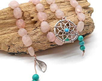 Rose Quartz Druid's Ladder With Dream Catcher - Witches Ladder, Pagan Prayer Beads, Wicca, Dream Catcher, Love, New Beginnings, Leaf