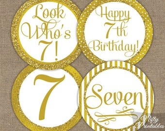 7th Birthday Cupcake Toppers - Gold 7th Birthday Toppers - Printable 7 Years Birthday Party Decorations - 7th Birthday Favor Tags GLD