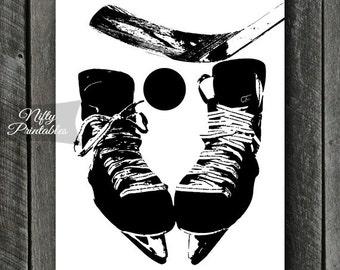 Hockey Print - INSTANT DOWNLOAD Hockey Art - Hockey Poster - Hockey Gifts - Black White Hockey Wall Art Decor - Sports Print SART