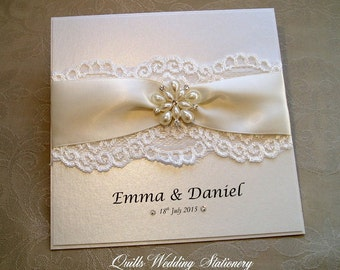 Luxury Pearl and Lace Wedding Invitation. Various Colour Options for Satin Ribbon.