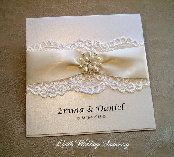 Richmond. Luxury Pearl And Lace Wedding Invitation. Various