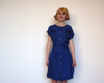 Real Silk Blue Madras Dress Shiny