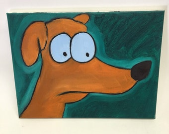 Original oil painting of Cartoon dog