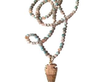 Fire Agate Beaded Arrowhead Necklace