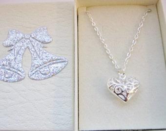 "Filigree Heart Necklace Pendant 18mm(3/4"")  Flower Girls Necklaces, Junior Bridesmaids Jewelry, Children's Kids Wedding Girls Jewellery Gift"