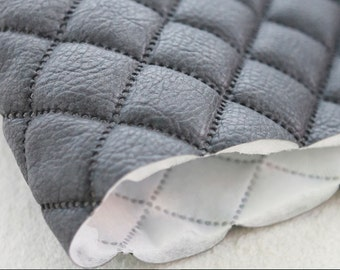 Quilted Faux Leather Fabric Charcoal By The Yard