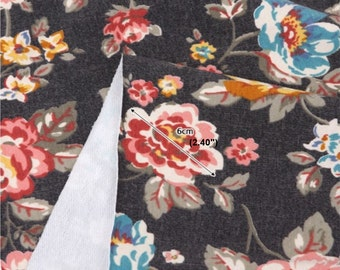 French Baby Terry Knit Fabric Rose Black By The Yard