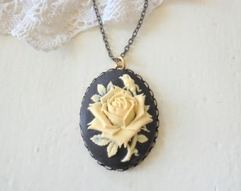 Black Cameo Pendant, Ivory Rose Necklace, Large Cameo Pendant, Victorian Style, Long Layering Necklace