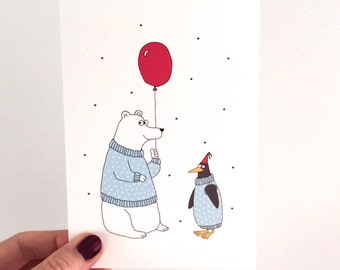 SALE! Polar Bear & Penguin Birthday Card