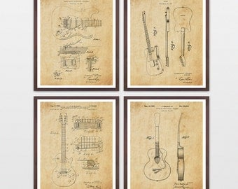 Guitar Patent Collection - Les Paul - Fender - Gretsch - Guitar Poster - Guitar Art - Guitar Wall Art - Guitar Patent - Fender Patent - Amp
