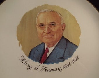 "Harry S. Truman  President of the United States Collector Plate, Historial Plates, 9"" 1884 - 1972, Souvenior Plate, USA, Washington DC"