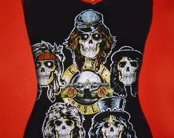 GUNS N ROSES diy x-straps cami tank top 80s heavy metal hard rock band vintage heads  shirt singlet  xs s m l xl