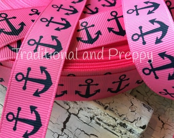 "3 Yards 7/8"" Nautical Navy Anchor on Hot Pink grosgrain ribbo"
