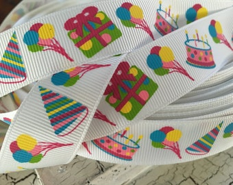 """5 yards 7/8"""" happy birthday present party hat candles grosgrain"""