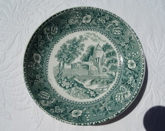 CODE: MOVINGSALE 35% OFF Charming Green  Transferware  8 1/2 inch Bowl with a Castle Scene. Circa 1907 Burslem, England.