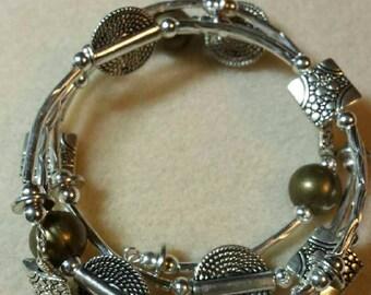 Silvertone wrap bangle