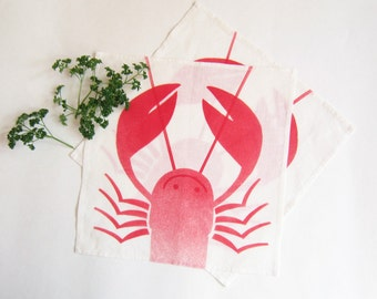 Linen tea towel white hand printed red smiling lobster airbrushed (duo)